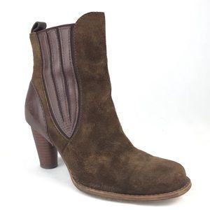 UGG Olivia Brown Leather Booties Suede Heel Boot